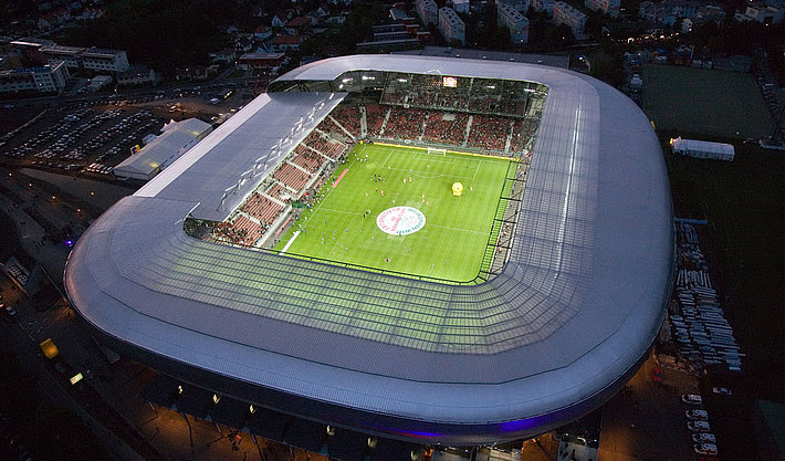 Wörthersee stadium Exterior view at night